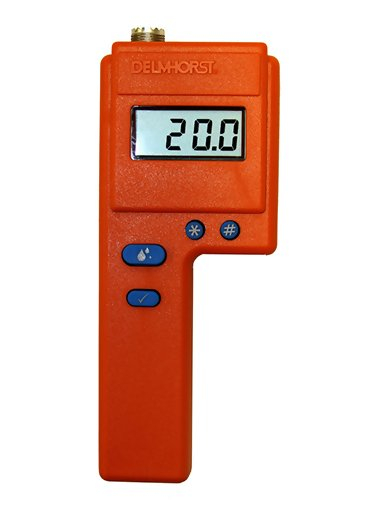 "Delmhorst FX-2000/PKG Moisture Meter for Hay. Deluxe Package: Includes meter with power supply, 1986 bale sensor with cable and mounting bracket, H-4 handle, 830-2 10"" probe, 831 windrow probe, and carrying case"